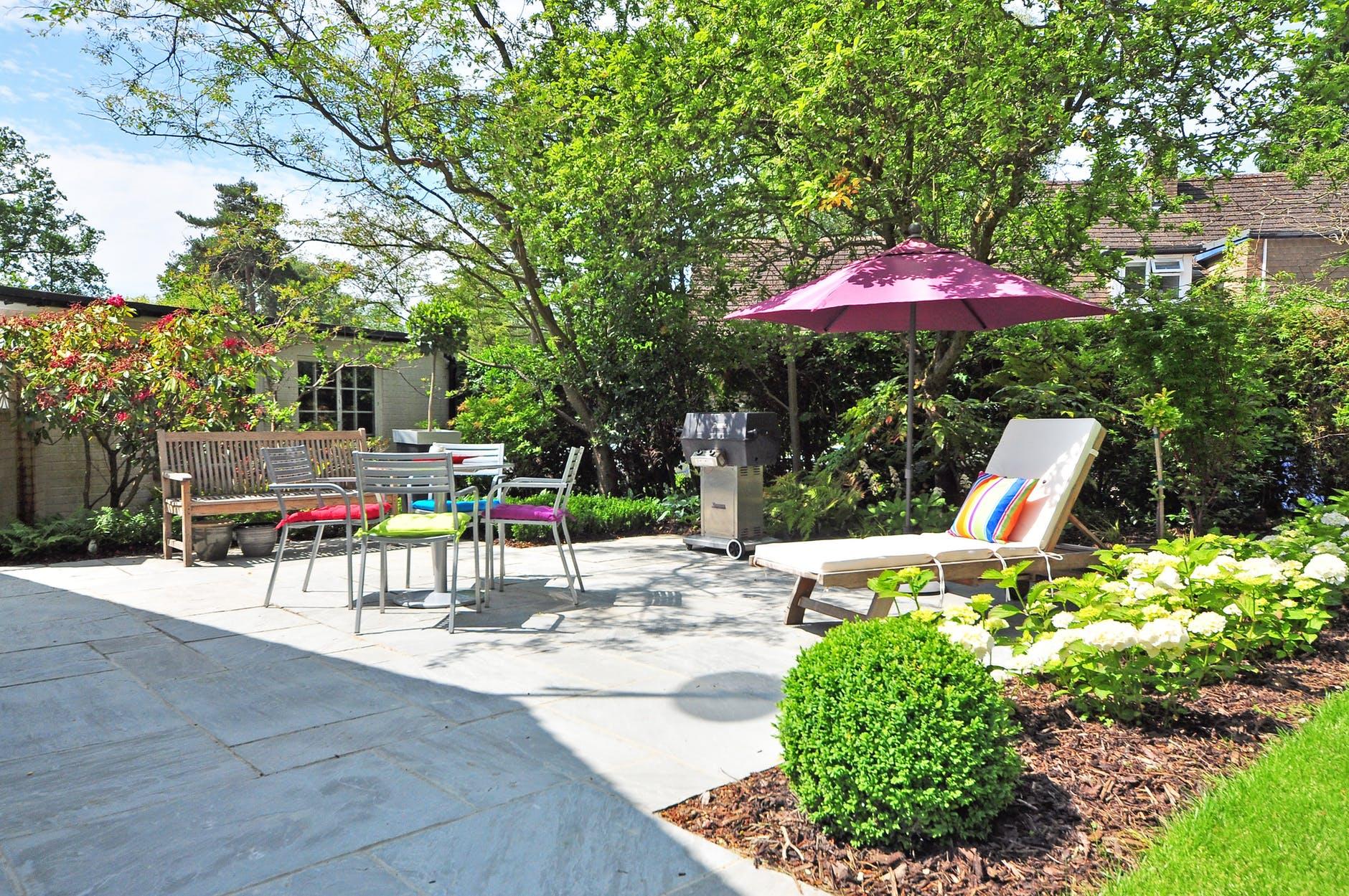 backyard bench daylight environment